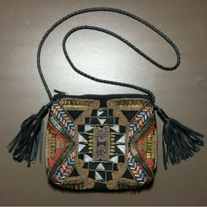 Handbags - Silver & Gold Tone Metal Beaded Embroidered Bag